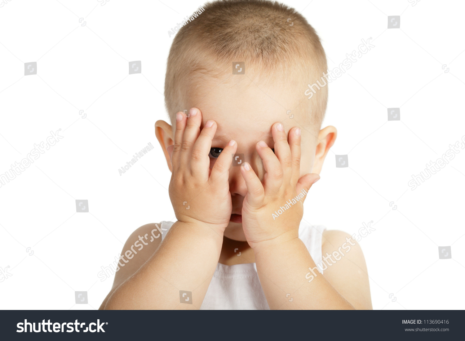 Child Holding Hands Over Eyes Stock Photo 113690416