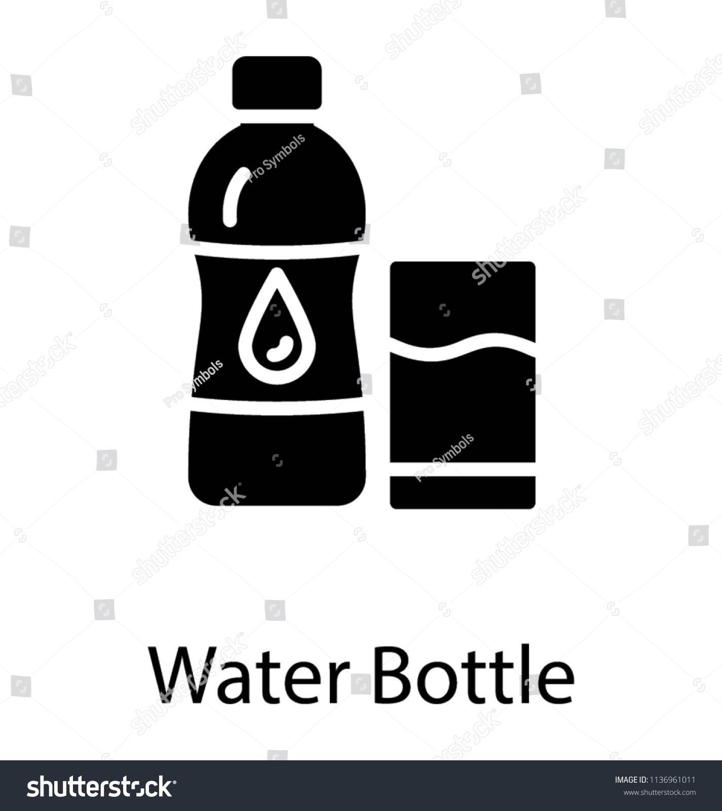 Plastic Bottle Water Symbol Symbolizing Water Stock Vector Royalty