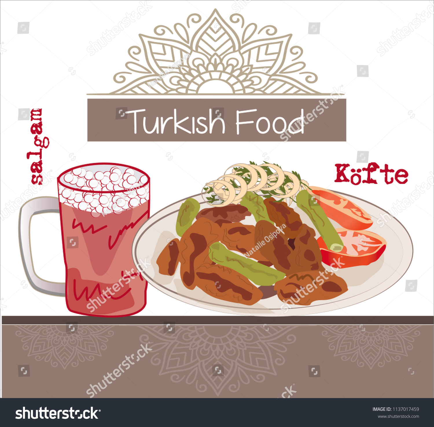 Illustration Traditional Turkish Food Kofte Turkish Stock Vector