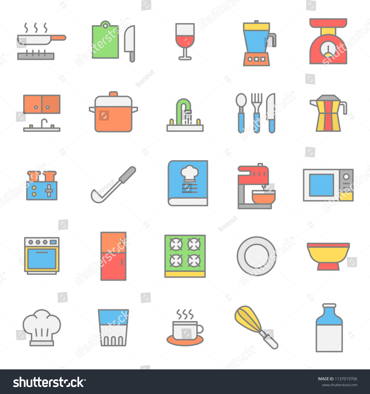 Kitchen set flat color icon collection with simple and modern outline editable stroke