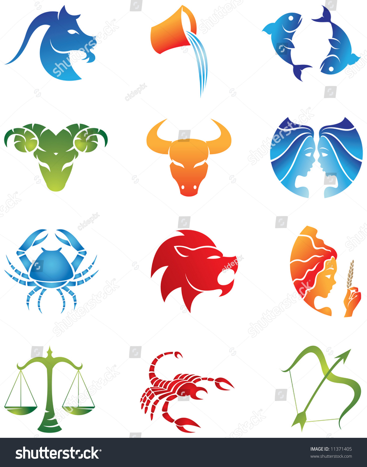 Stock Vector Logo Like Zodiac Star Signs Isolated On A White Background