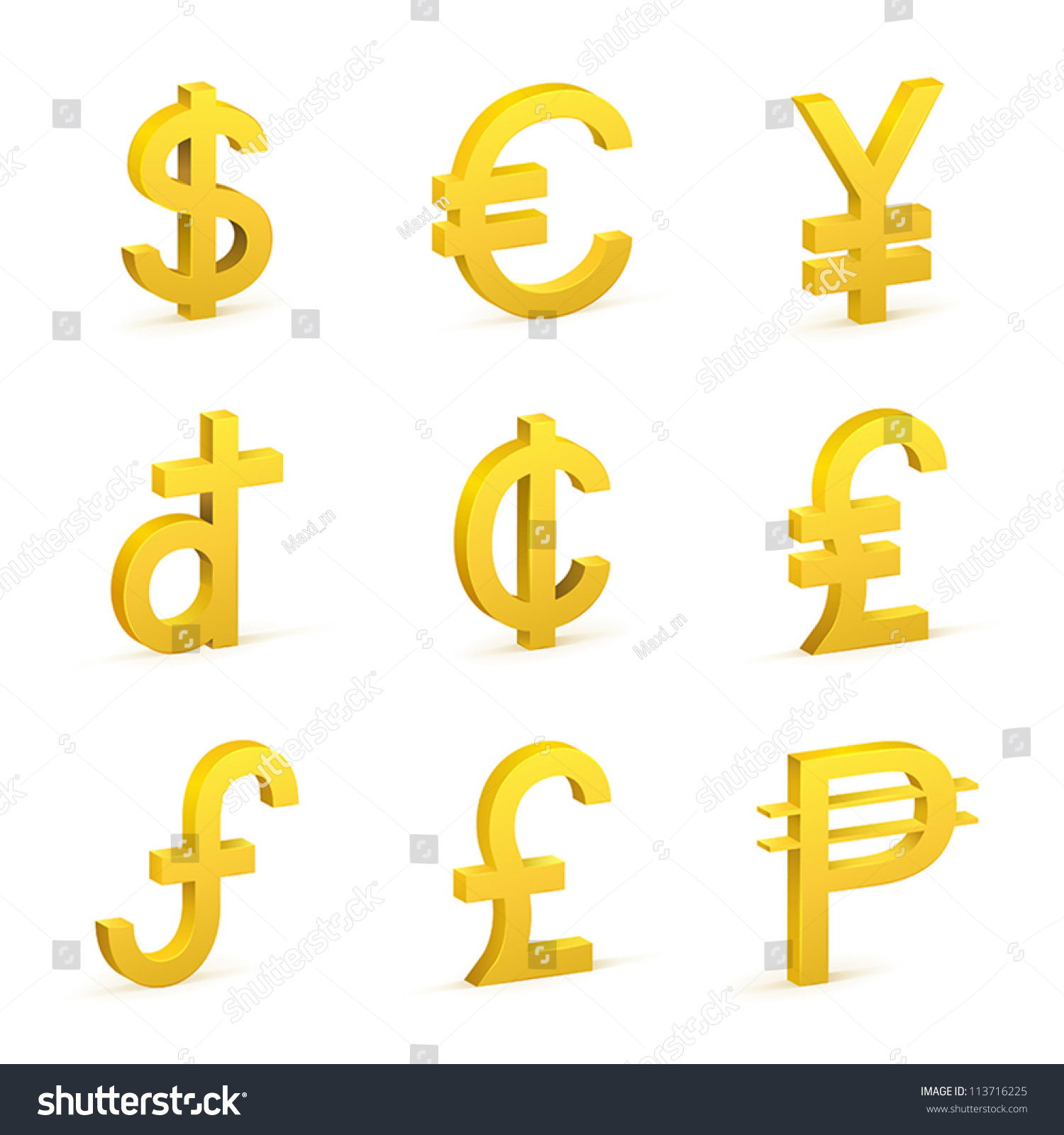 Vector Illustration Of Four Currency Signs In Gold Eps Ez Canvas