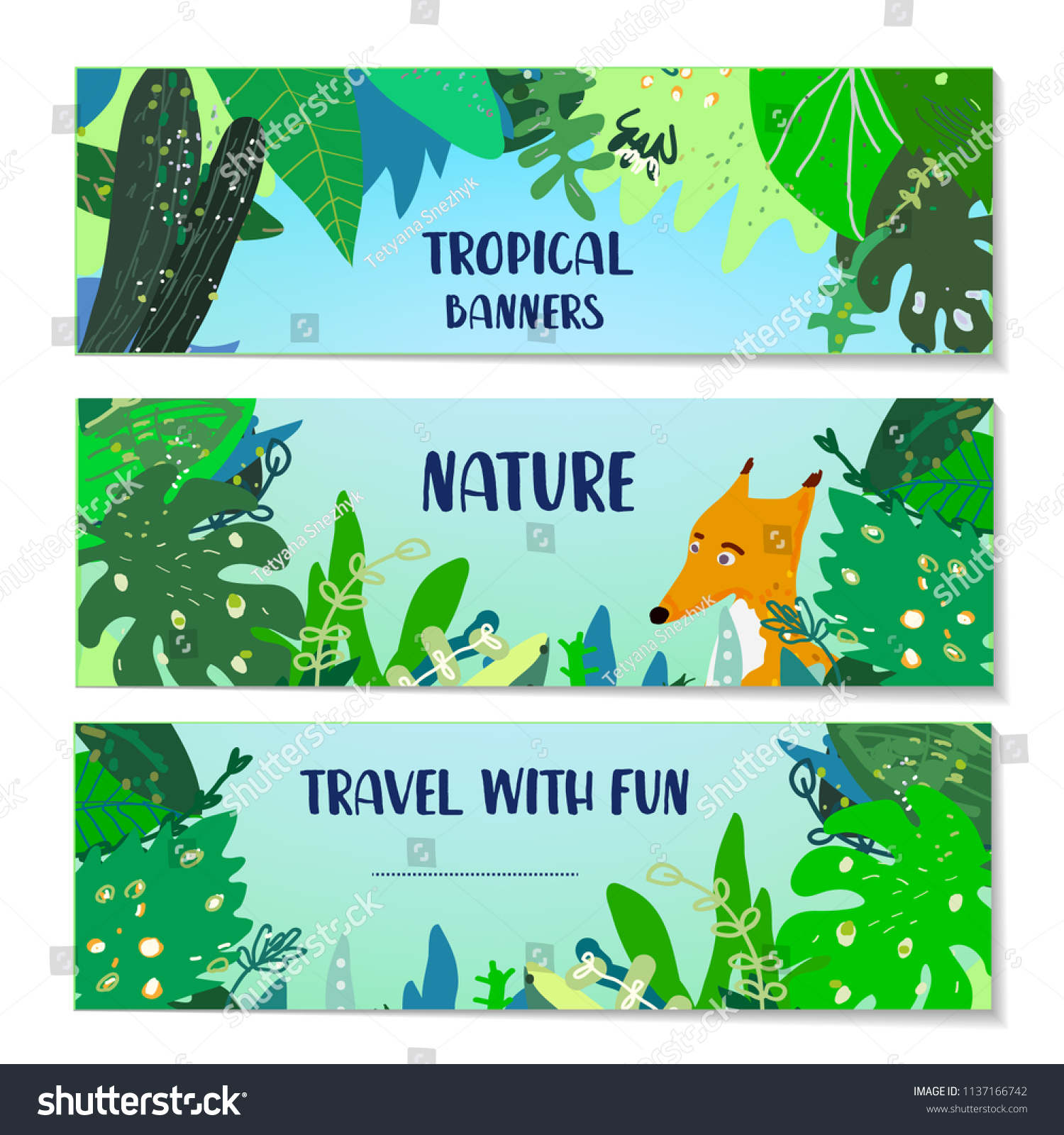 Tropical Banners Set With Plants And Animal Vector Graphic Illustration