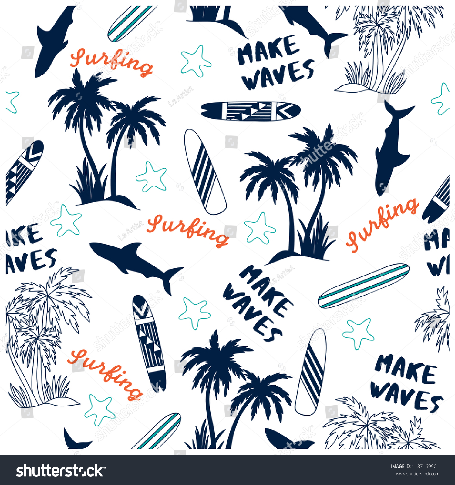Summer seamless pattern design.Palm tree,surfboard, shark vector print.