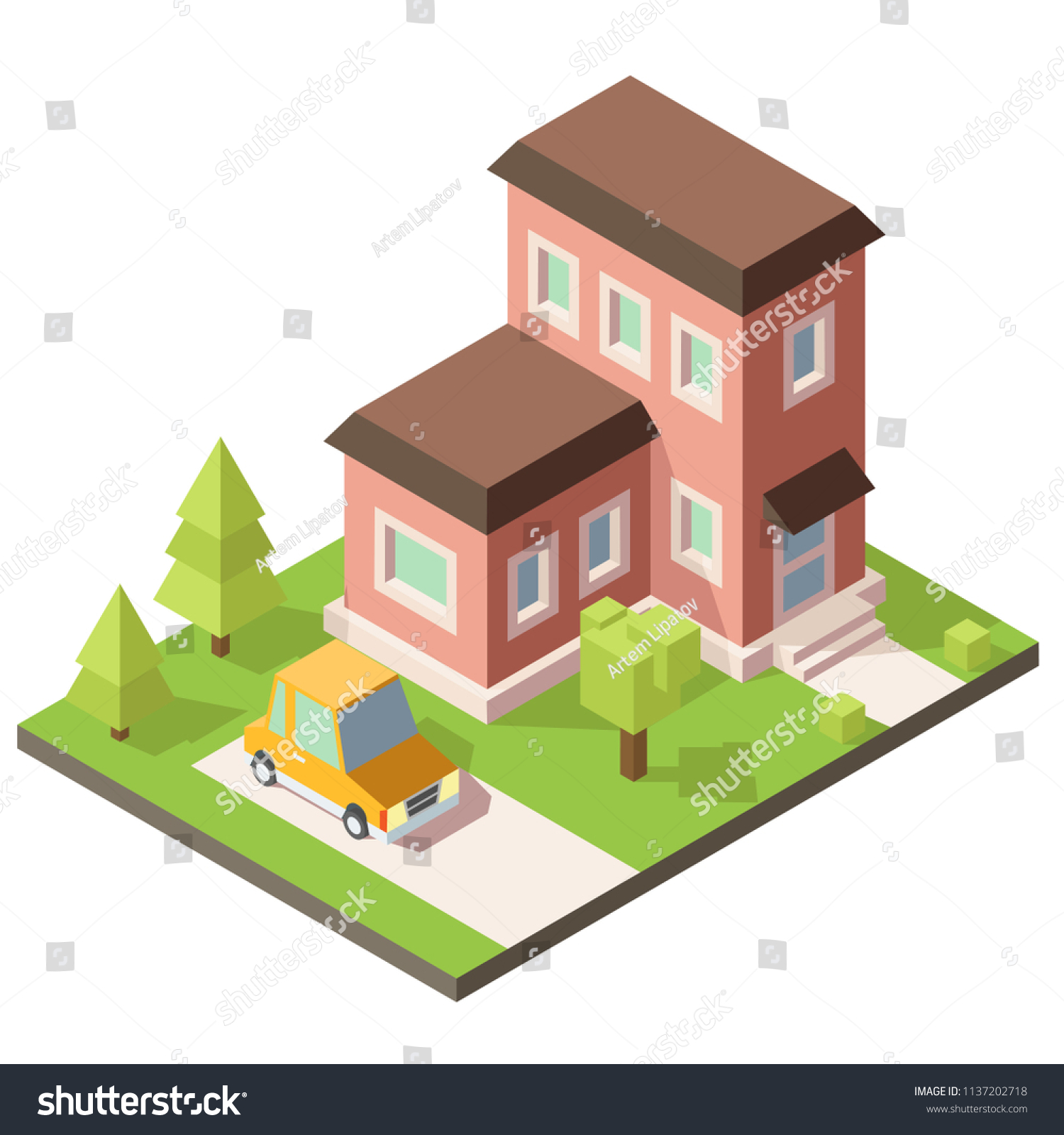 3d Model Twostory House Property Sale Stock Vector Royalty