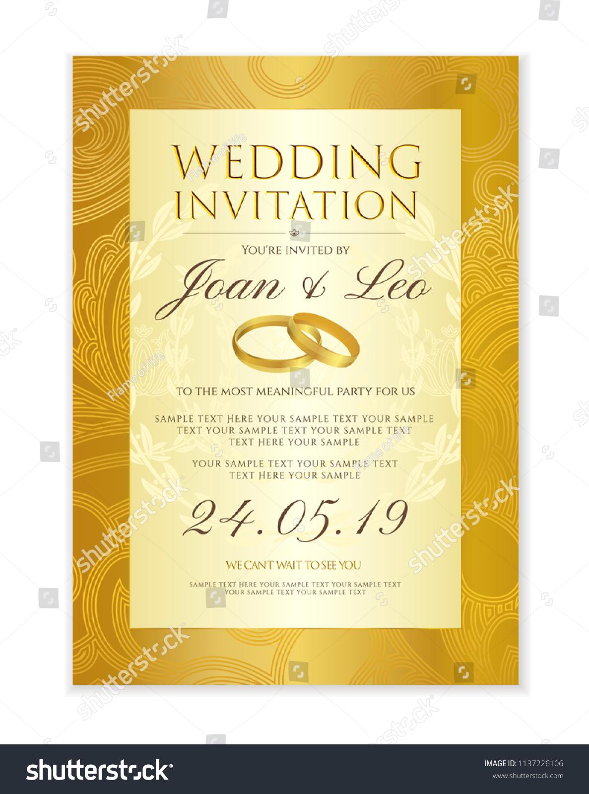 Wedding Invitation Design Template Save Date Stock Vector (Royalty ...