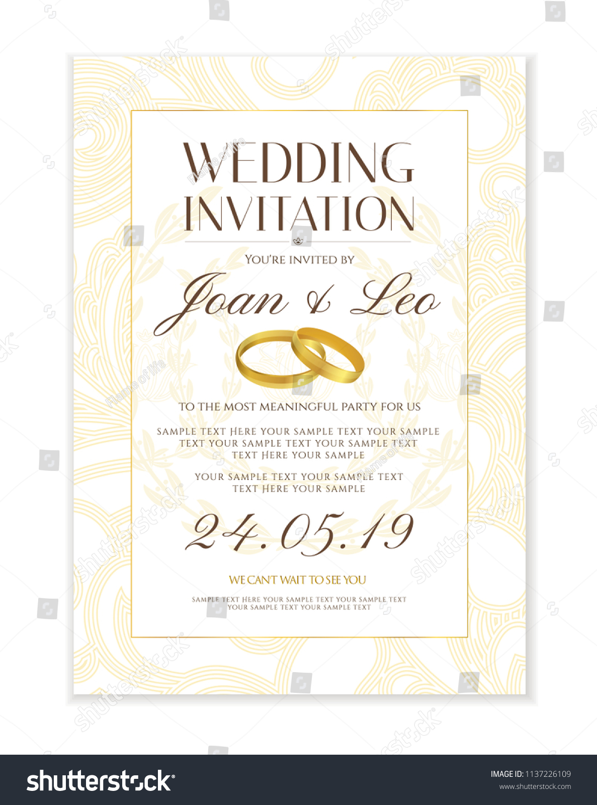 wedding invitation design template save the date card classic golden background with gold