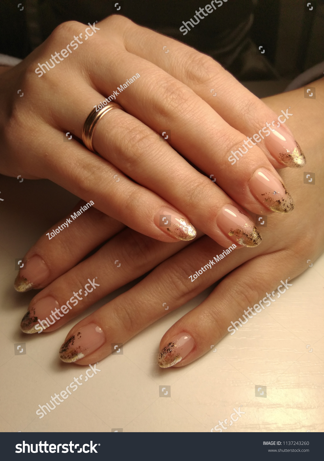 Natural Nails Modern French Manicure Stock Photo & Image (Royalty ...