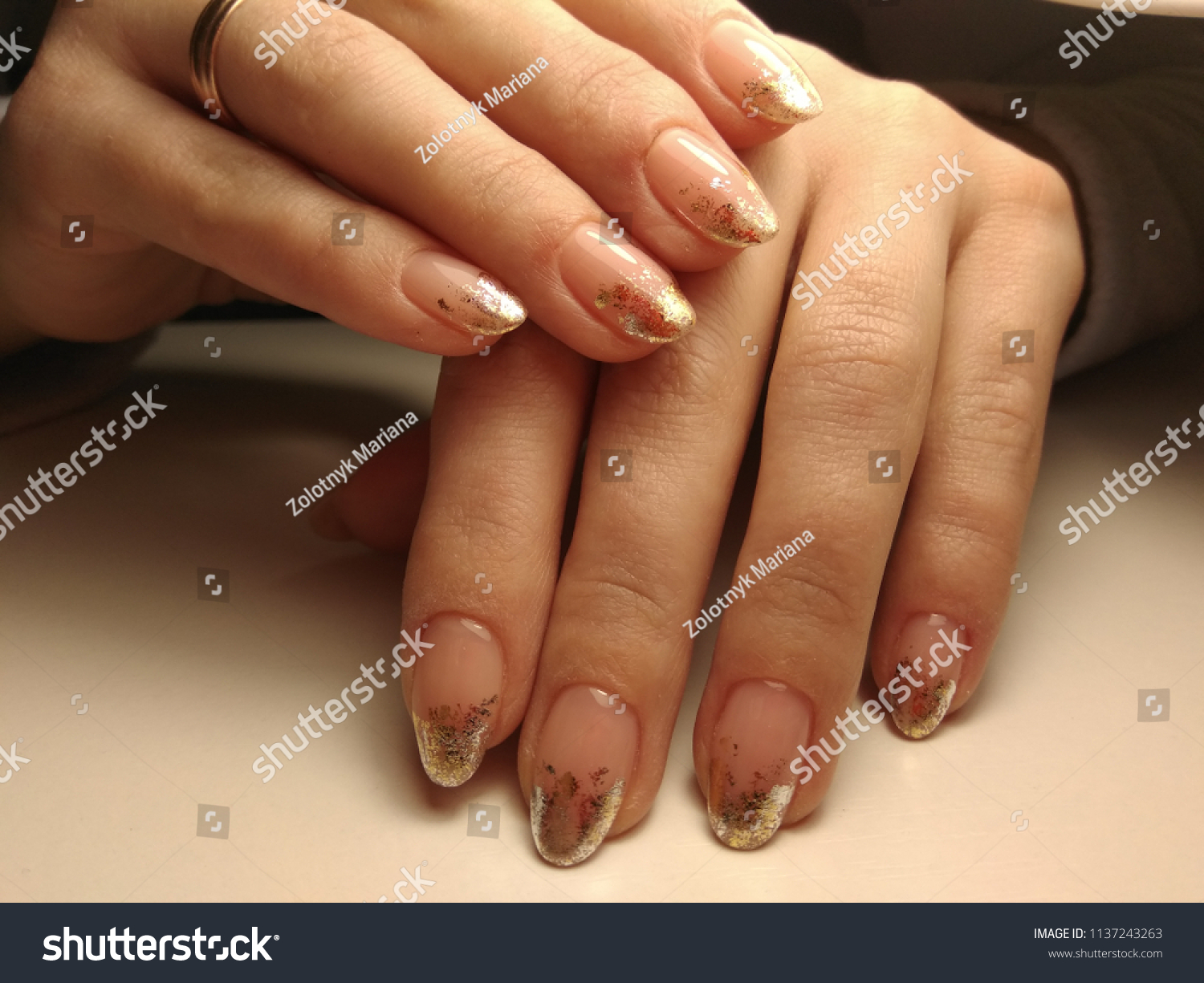 Natural Nails Modern French Manicure Stock Photo (Edit Now ...