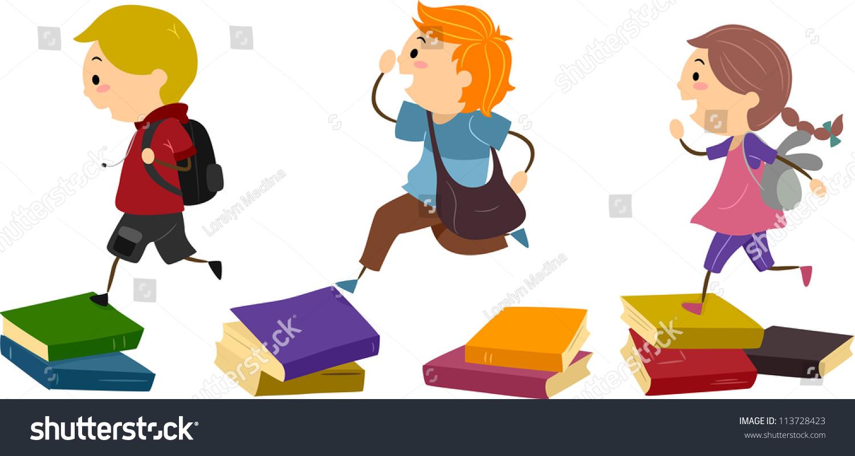 Stepping Stones Clip Art : Illustration school kids using piles books stock vector