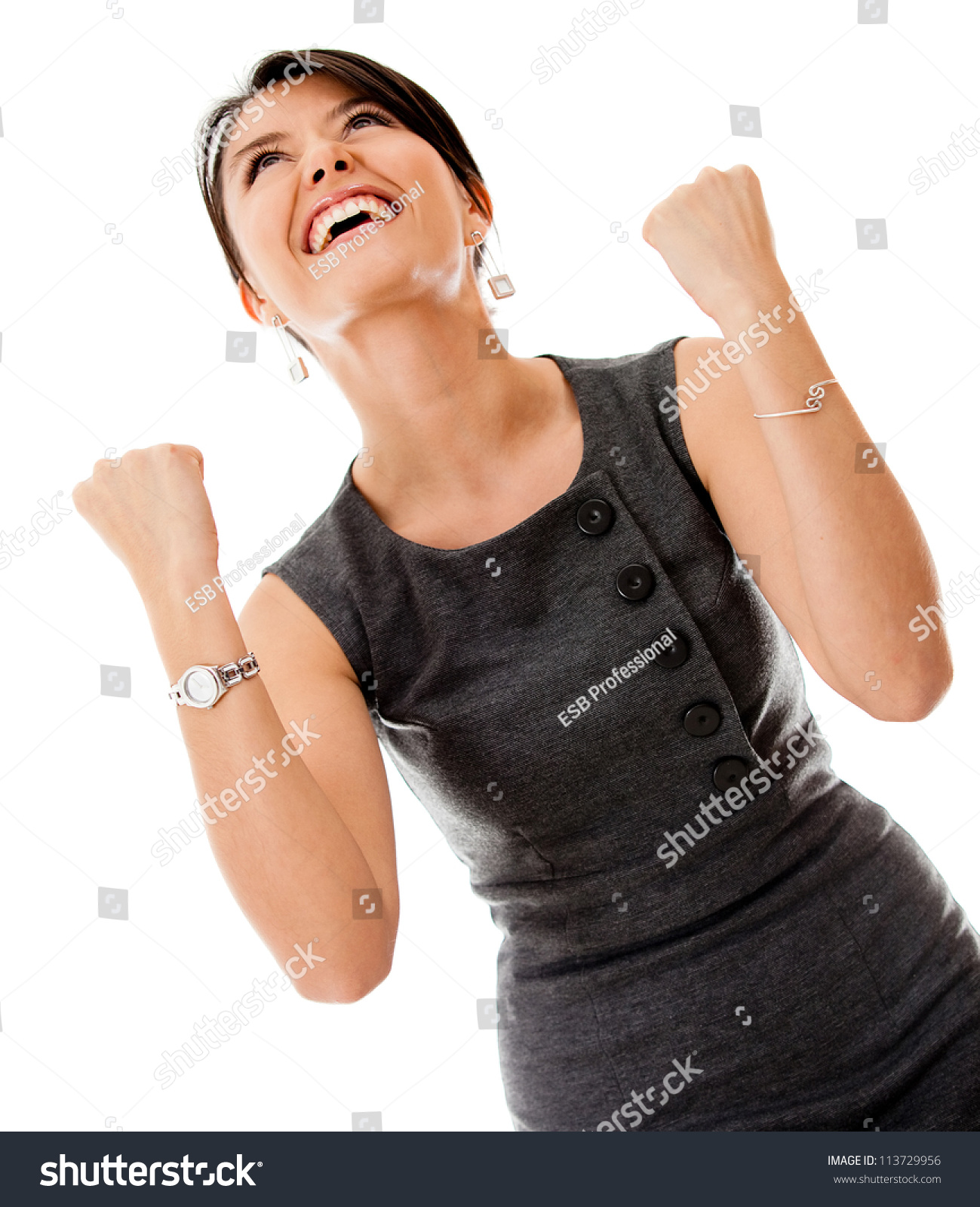 successful business w looking very excited stock photo successful business w looking very excited isolated over a white background
