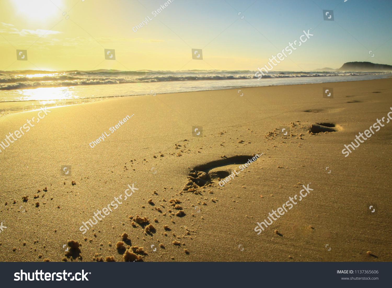 Early Morning Sunrise Beach Footprints Sand Stock Photo