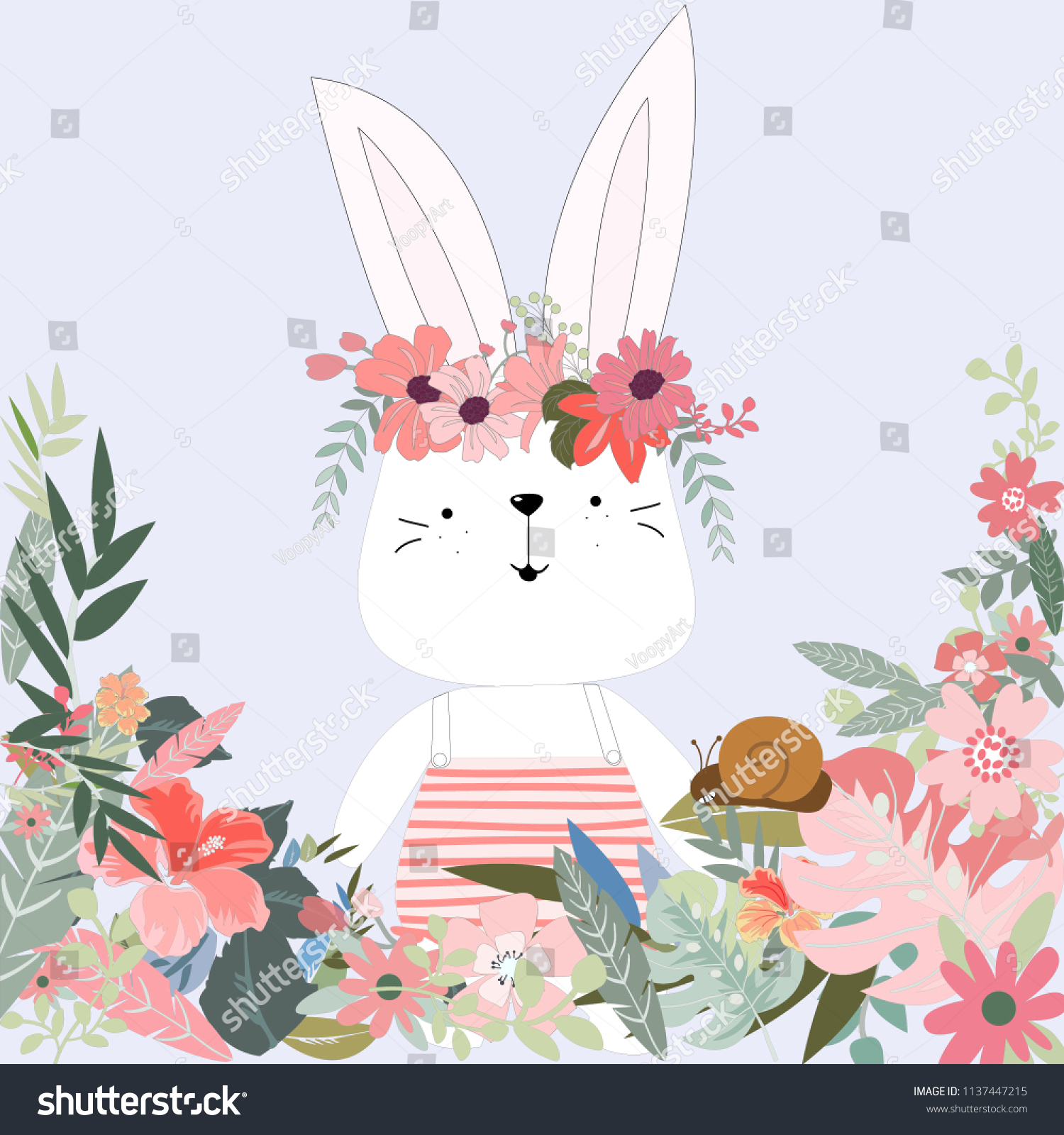 Cute Rabbit Girl Her Flower Crownillustration Stock Vector Royalty