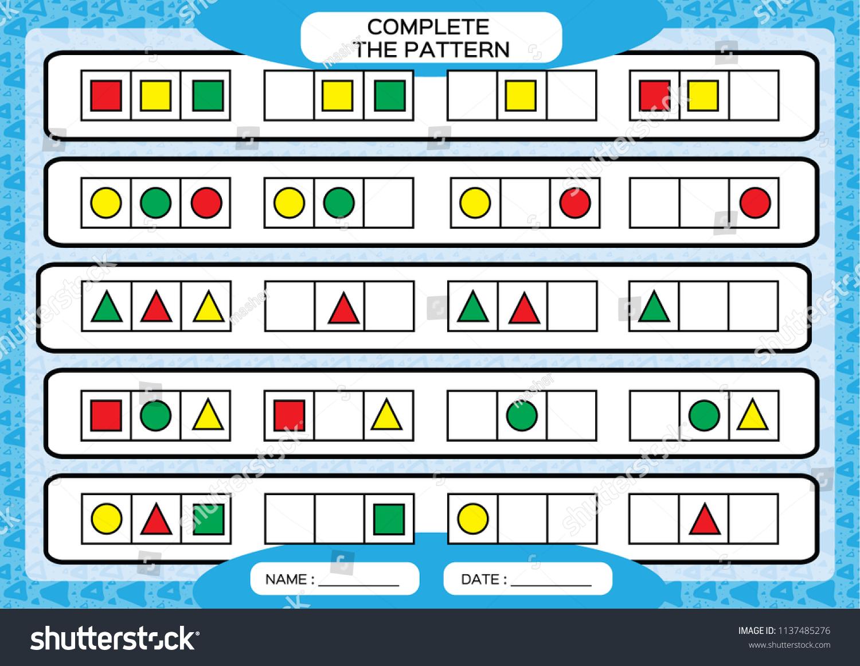 Complete Simple Repeating Patterns Worksheet Preschool Stock Vector ...