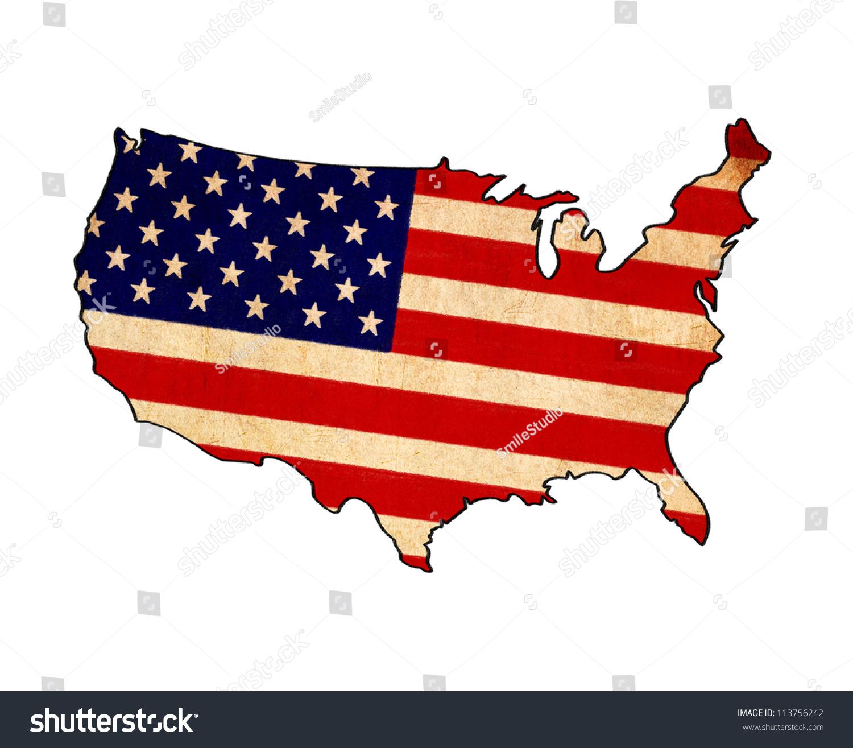 Usa Map On Usa Flag Drawing Stock Illustration - Us map flag