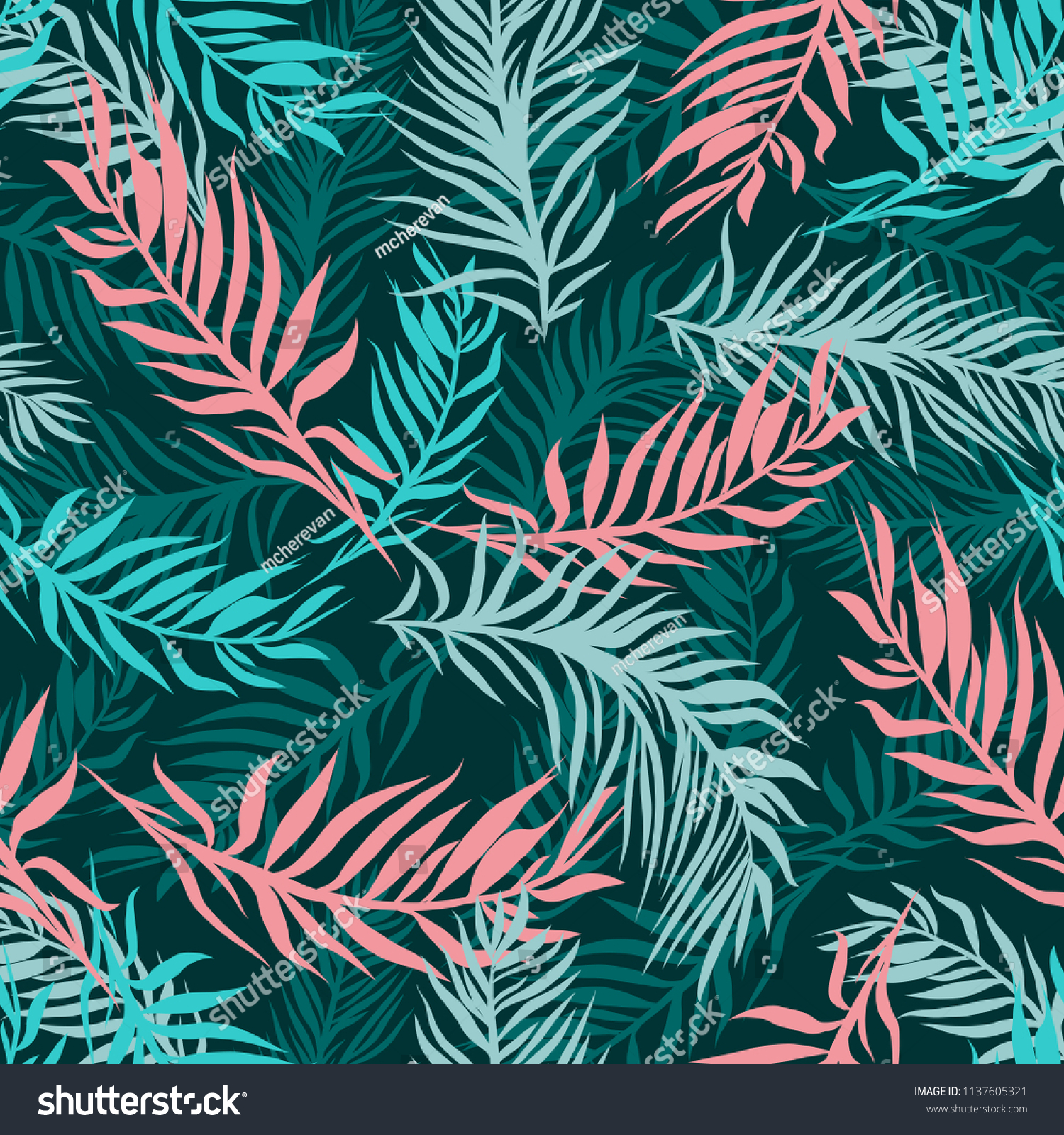 Exotic Leaves, Rainforest Plants Background Seamless Hand Drawn Tropical Pattern