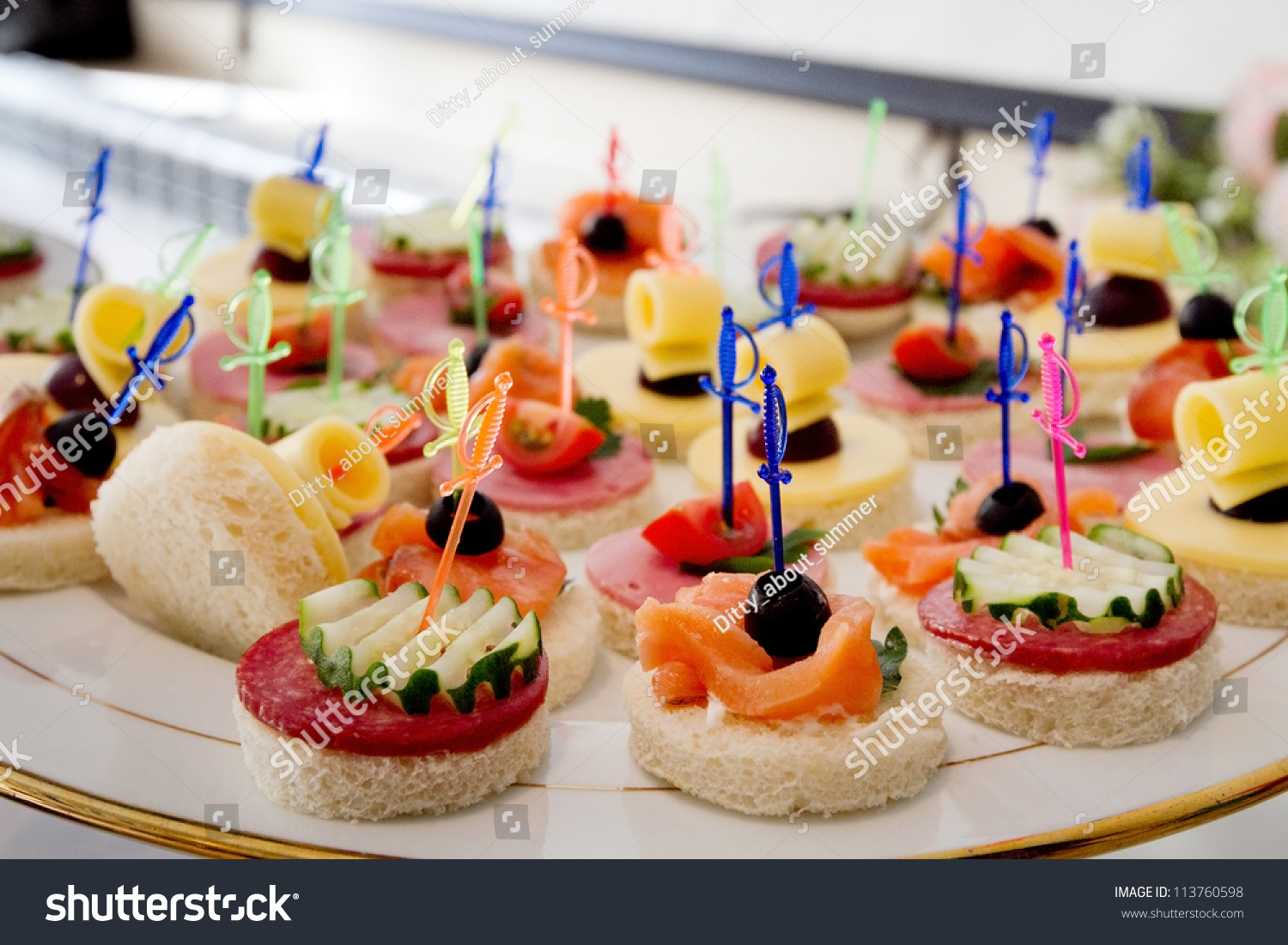 Canape on plate stock photo 113760598 shutterstock for What is a canape plate used for