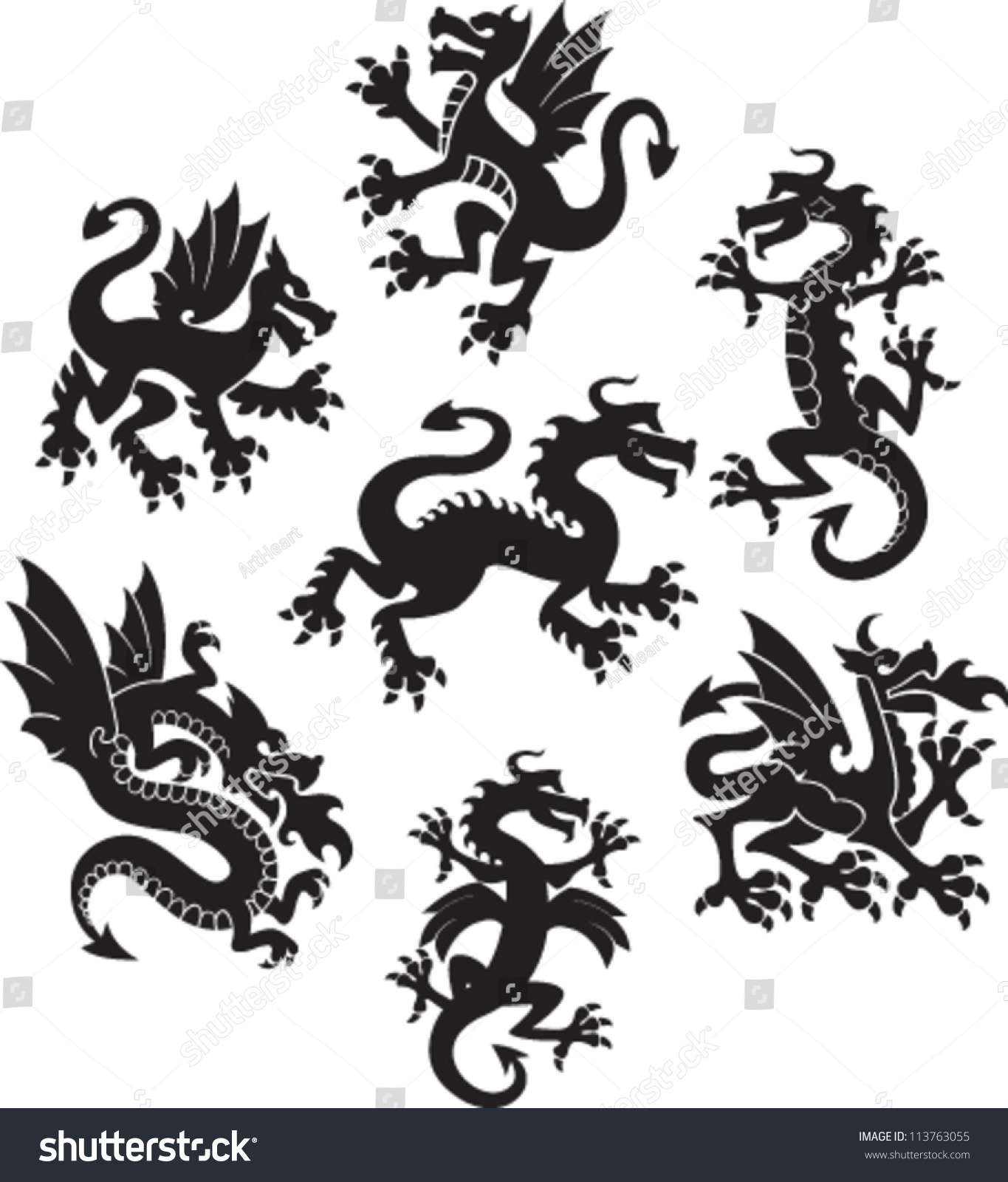 set of medieval dragon symbols stock vector illustration