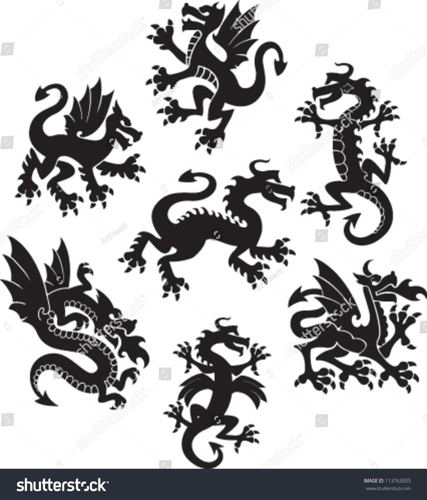 set medieval dragon symbols stock vector 113763055