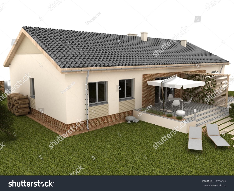 Backyard Of Modern House With errace nd Garden - omputer ... - ^