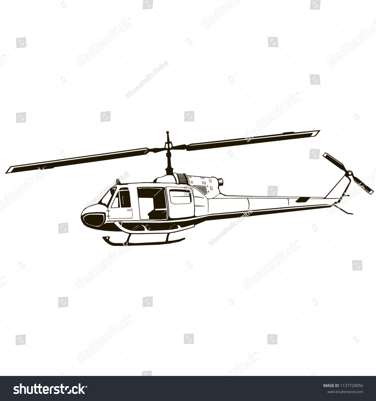 Vector Graphic Drawing Helicopter Clip Art Stock Vector Royalty Free 1137729056