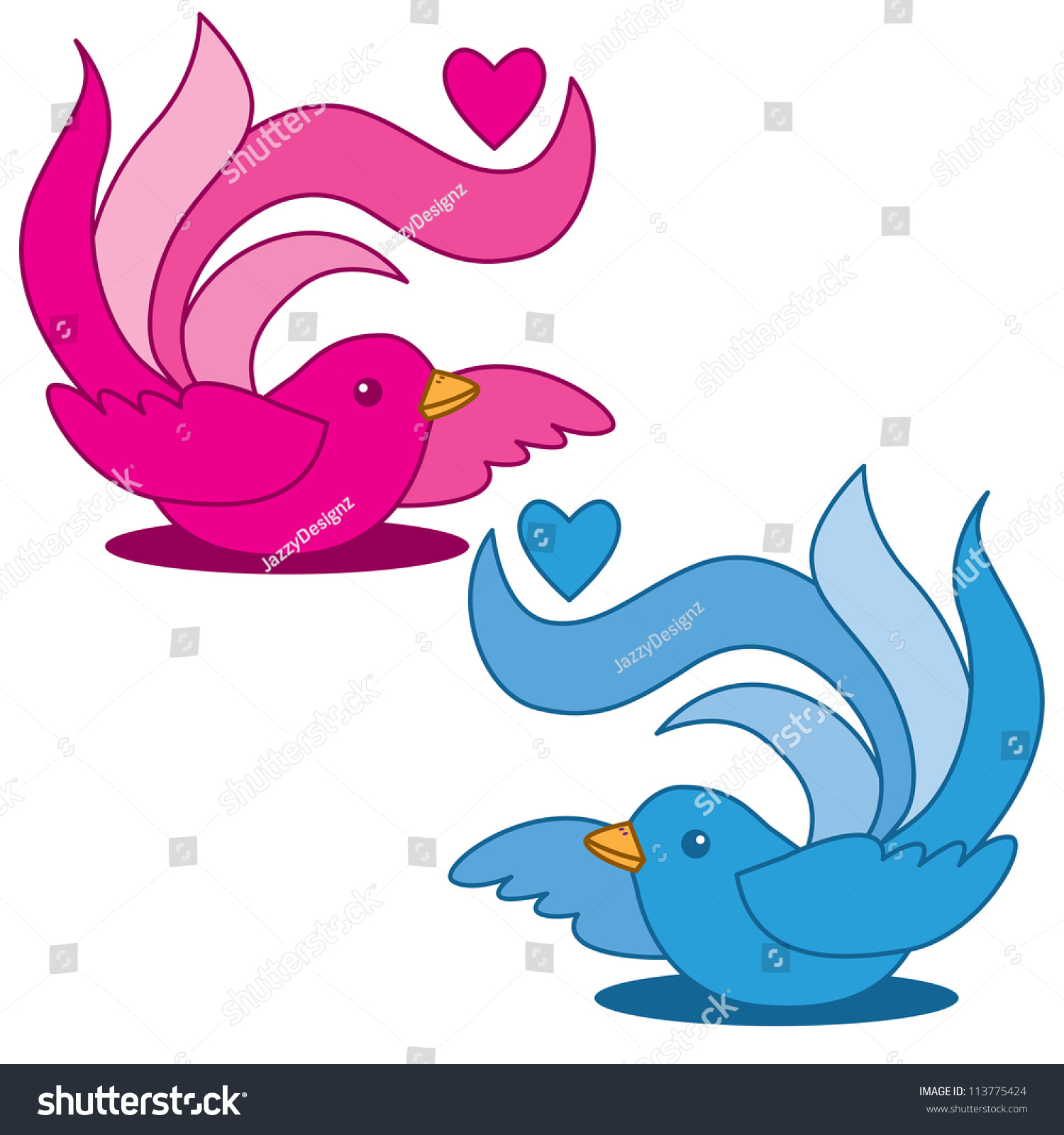pretty duo fantail birds cartoon stock illustration 113775424