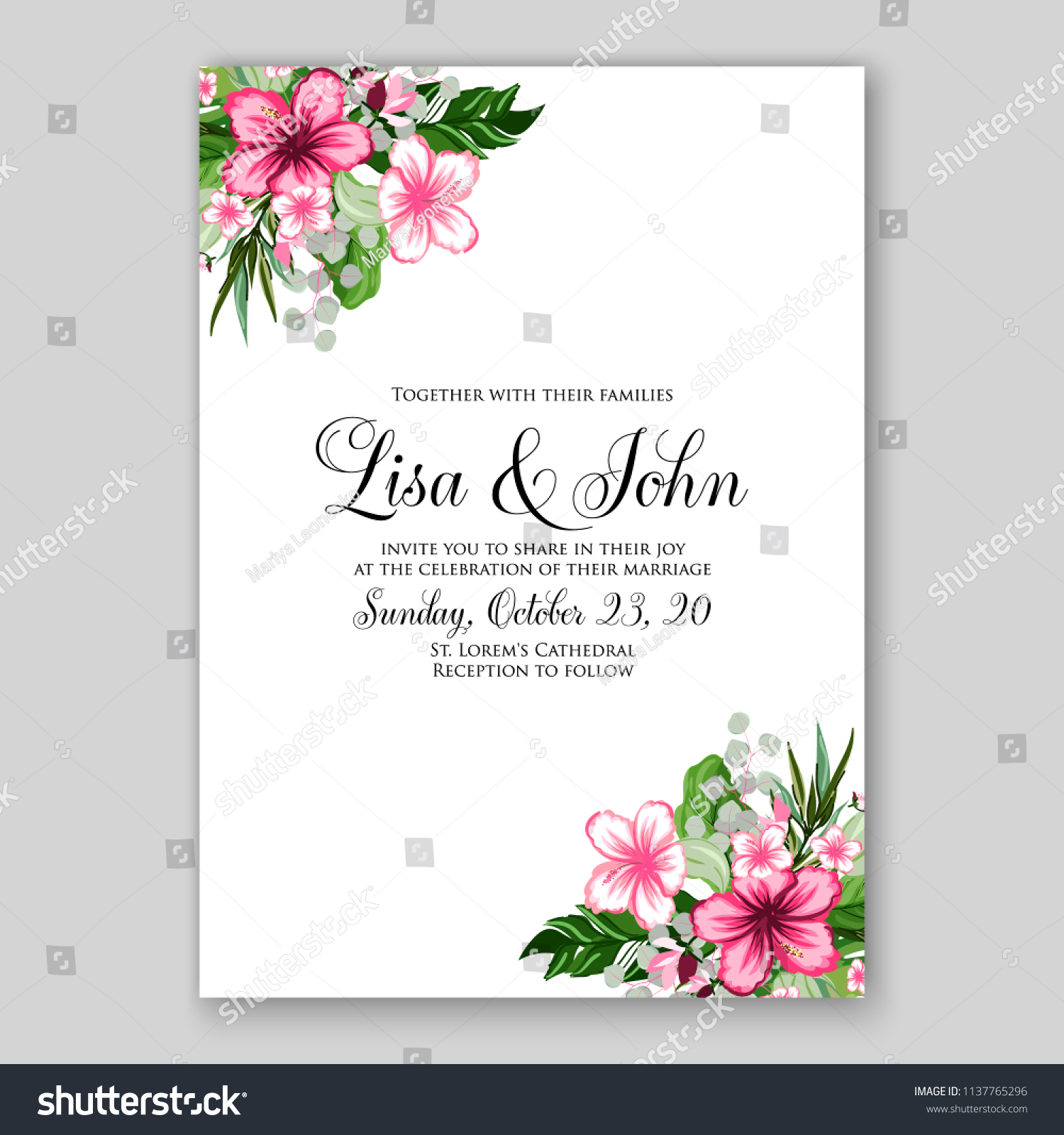 Floral Wedding Invitation Printable Template Card Stock Vector ...
