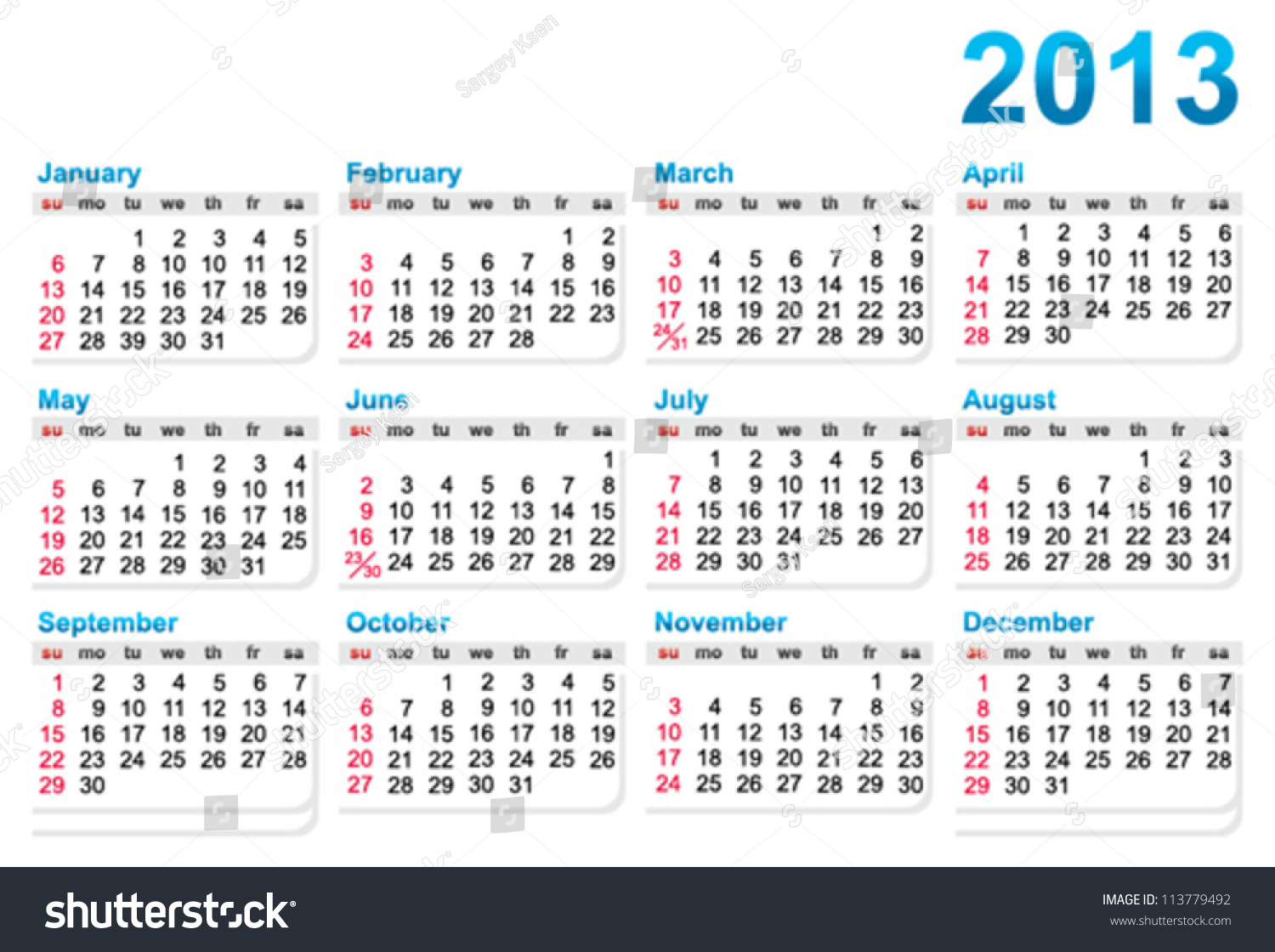 Template Calendar 2013 Year Stock Vector Royalty Free 113779492