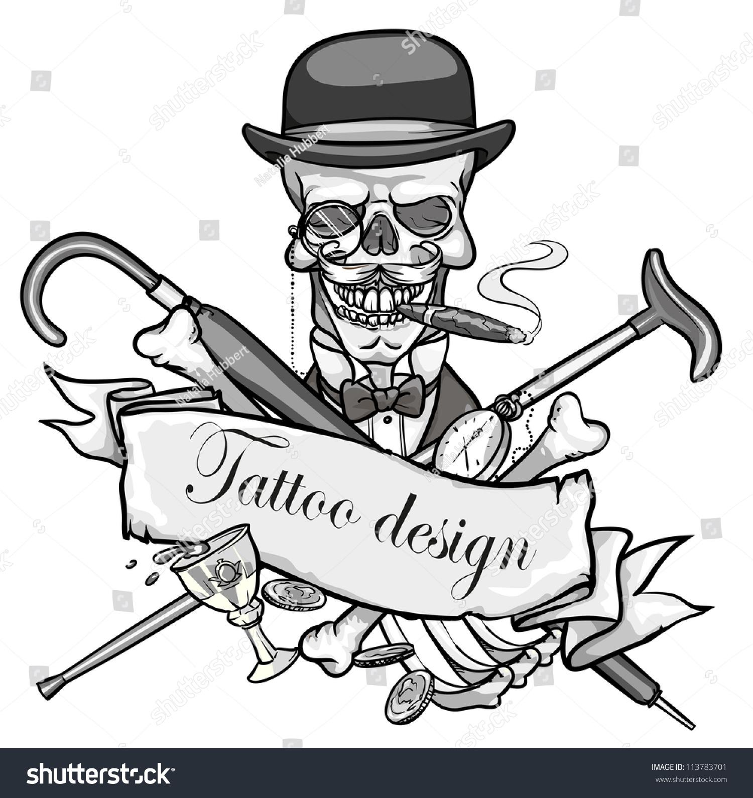 Gentlemans Skeleton Black White Vector Illustration Stock Vector
