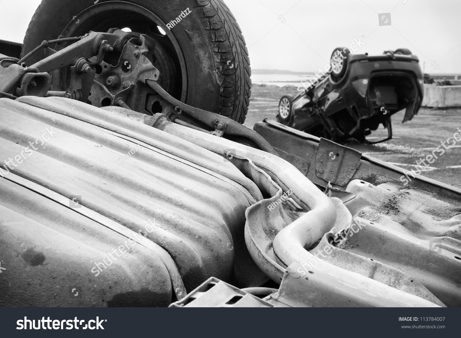 two cars turned upside down after road collision stock photo 113784007 shutterstock. Black Bedroom Furniture Sets. Home Design Ideas
