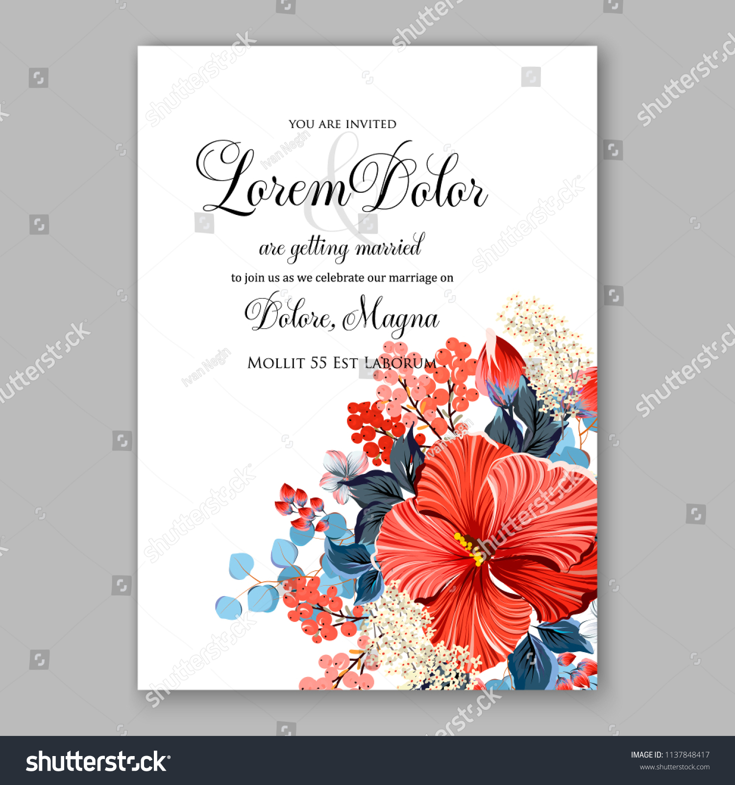 Floral Wedding Invitation Invite Elegant Card Stock Vector (Royalty ...