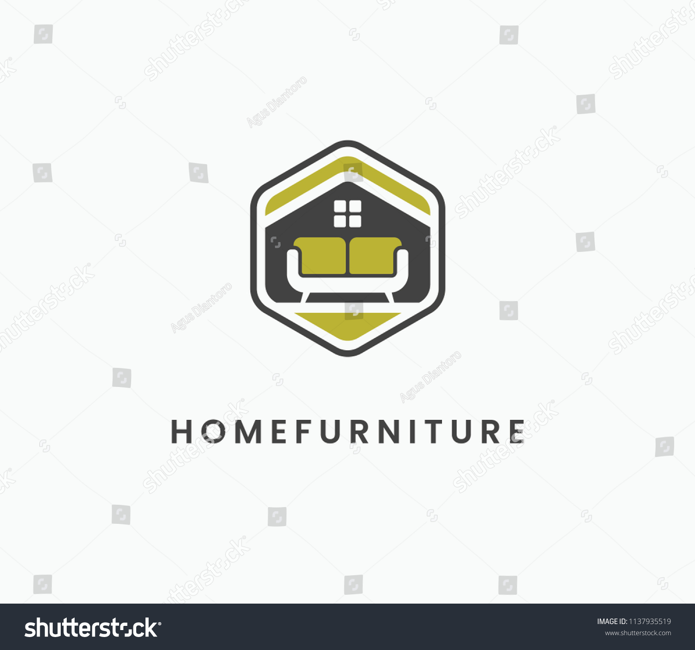 Hexagonal home furniture logo vector template suitable for interior furniture companies