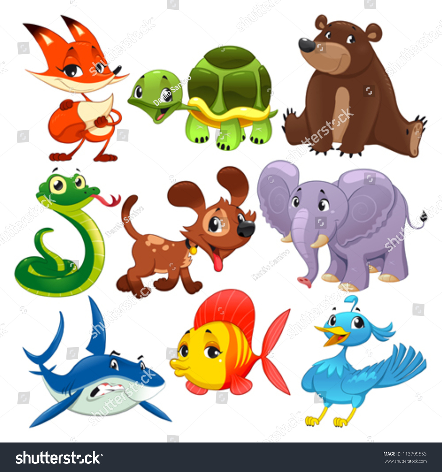 set animals cartoon vector isolated characters stock. Black Bedroom Furniture Sets. Home Design Ideas