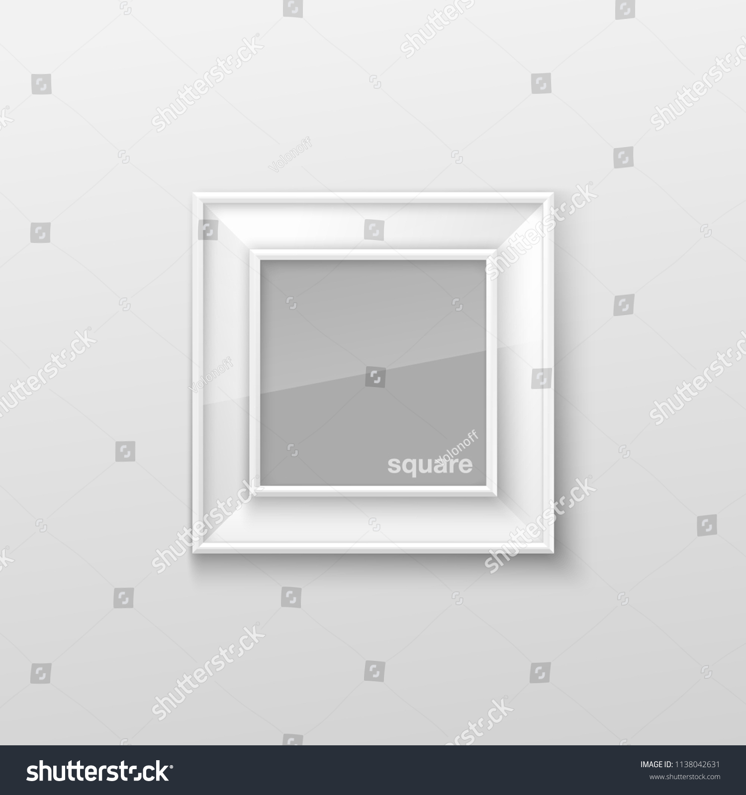 Realistic Square White Blank Picture Frame Stock Vector (Royalty ...