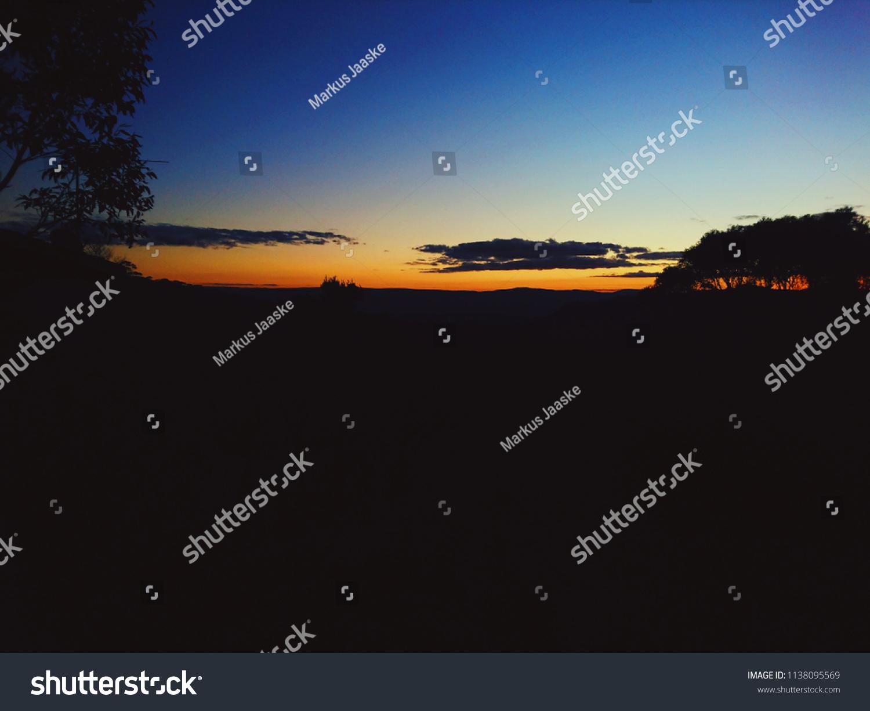 Beautiful Night Landscape Orange Sunset Sky Stock Photo