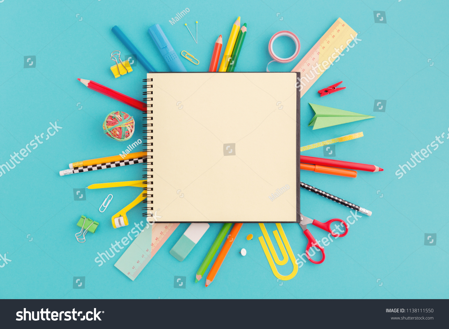 School notebook and various stationery. Back to school concept. #1138111550