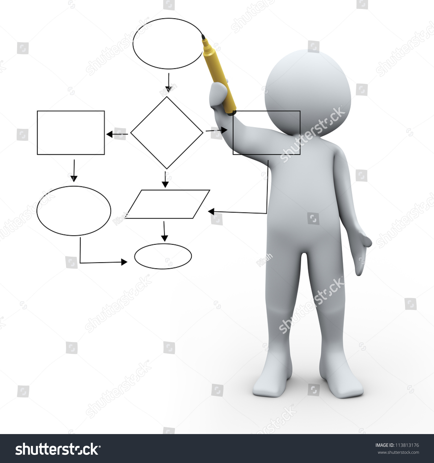 d illustration of man drawing strategy flow chart diagram on    save to a lightbox