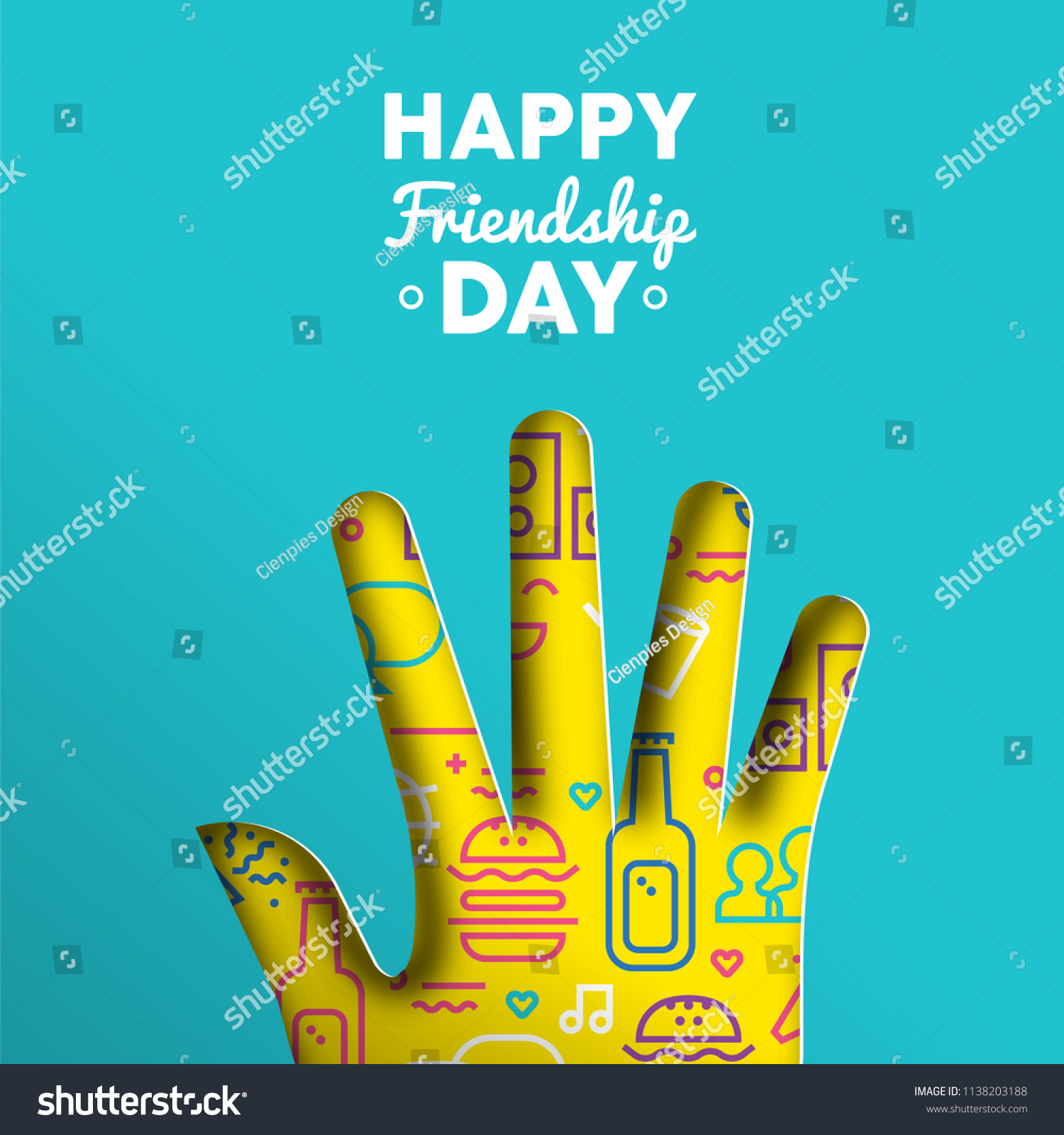 Happy Friendship Day Greeting Card Illustration Stock Vector