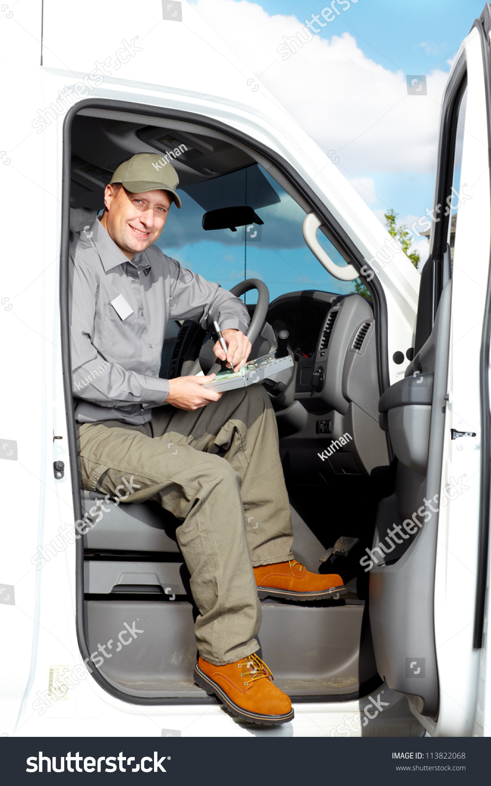 Smiling Truck Driver Car Delivery Cargo Stock Photo 113822068 ...