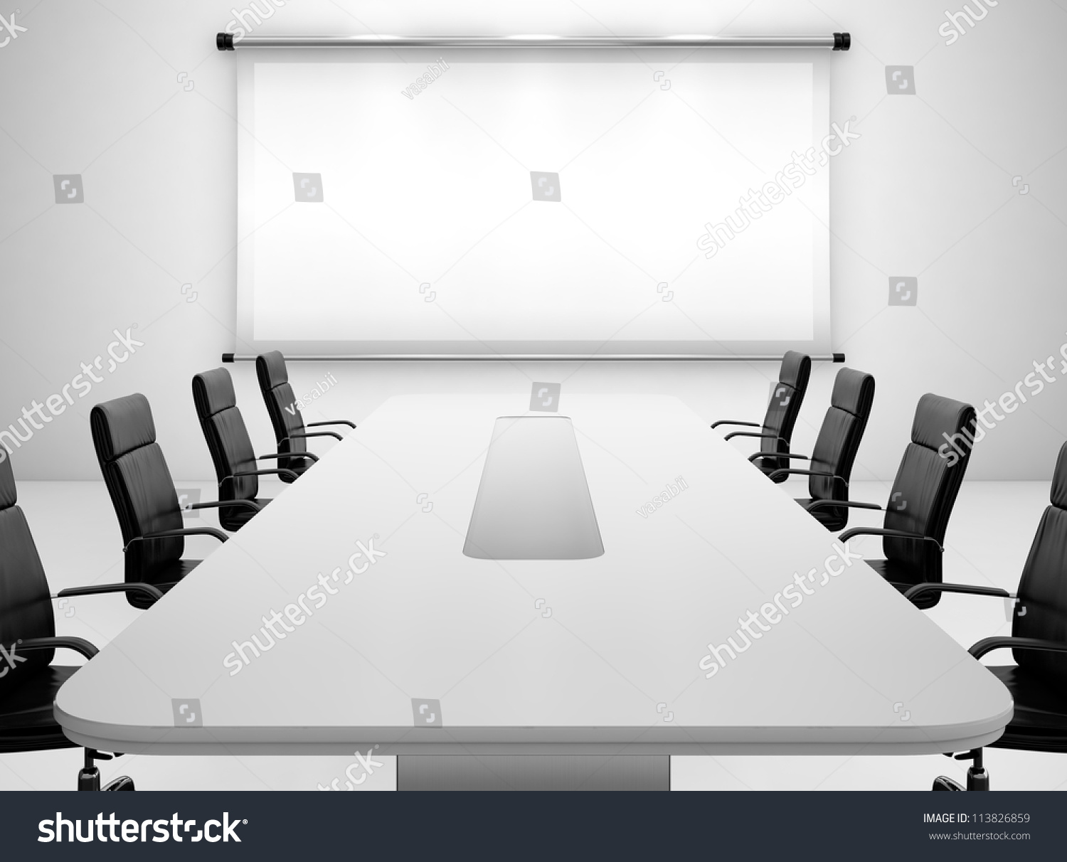 3d render meeting room projection screen stock for Meeting table design 3d