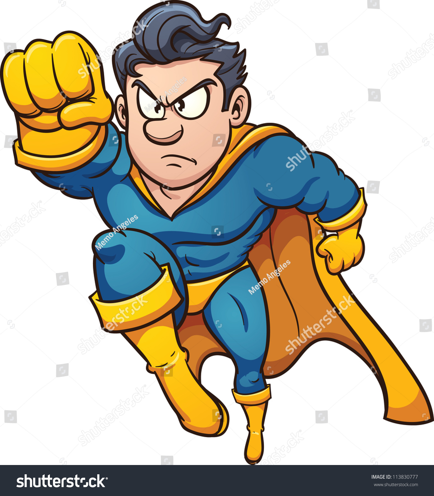 stock-vector-cartoon-flying-superhero-vector-illustration-with-simple ... Superhero Flying Vector