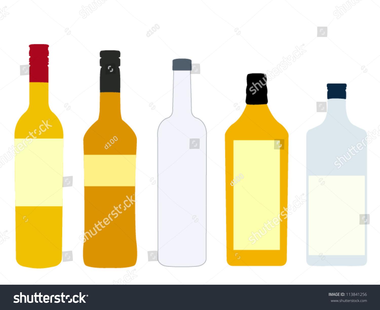 Different Kinds Spirits Bottles Vodka Rum Stock Vector 113841256 Shutterstock