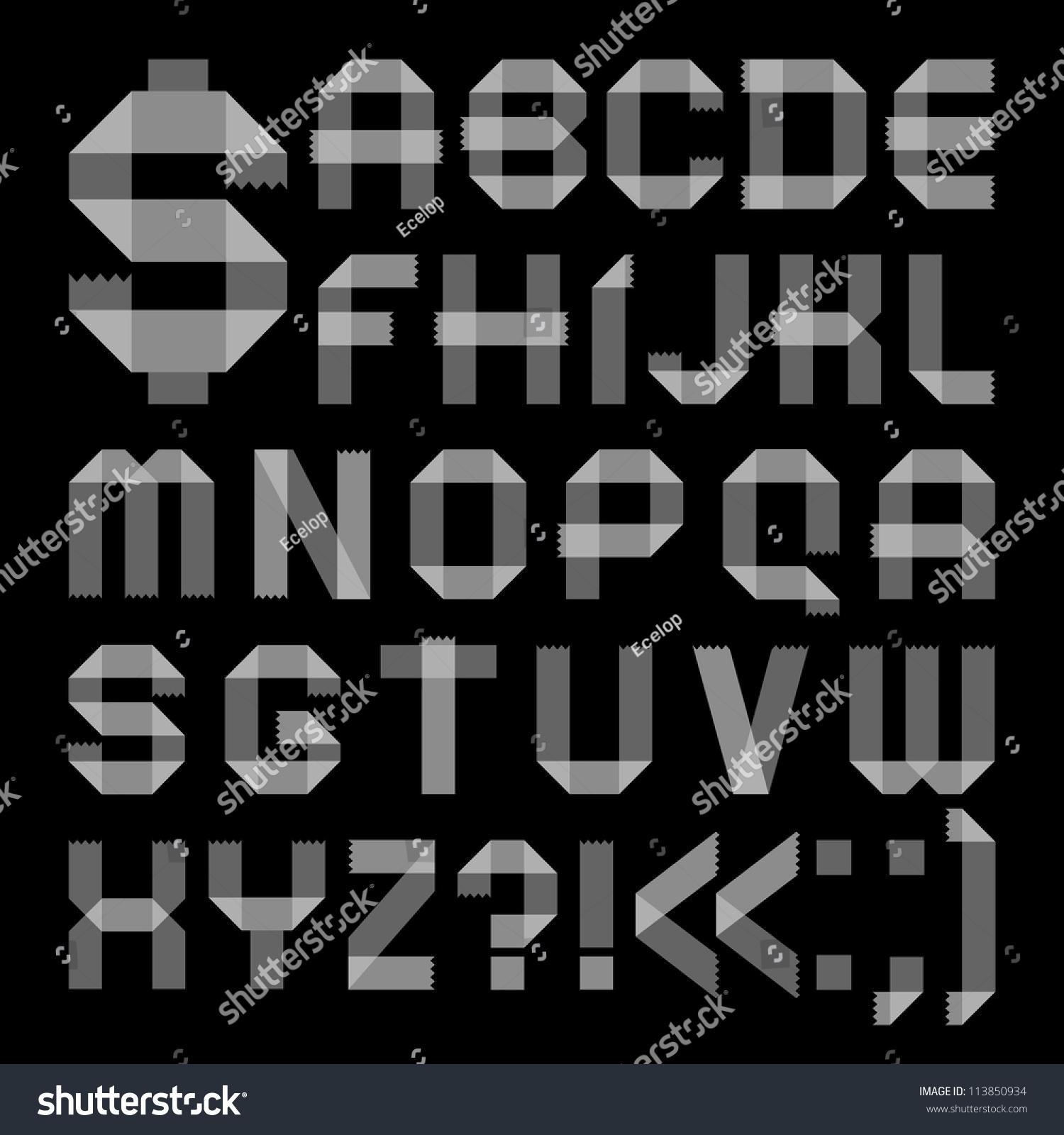 Font from sellotape tape roman alphabet a b c d e f g h i j k l m n o p q r s t u v w x y
