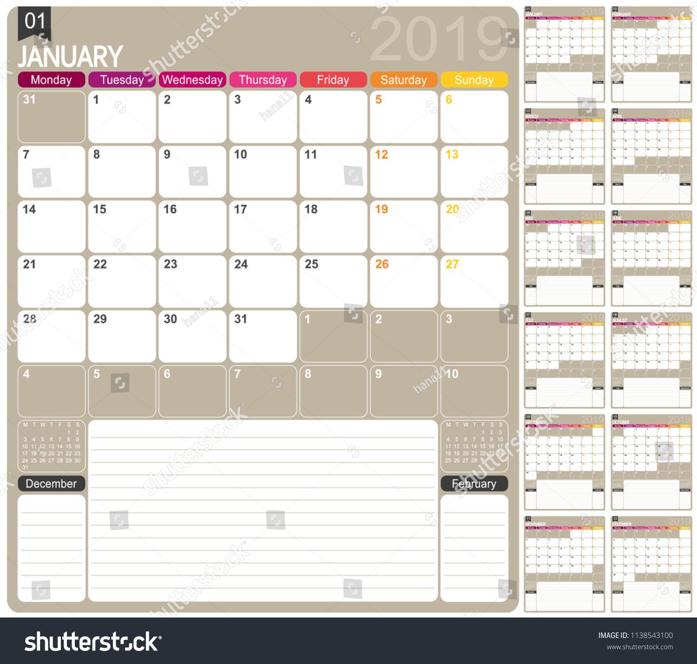 English Planning Calendar 2019 English Calendar Stock Vector