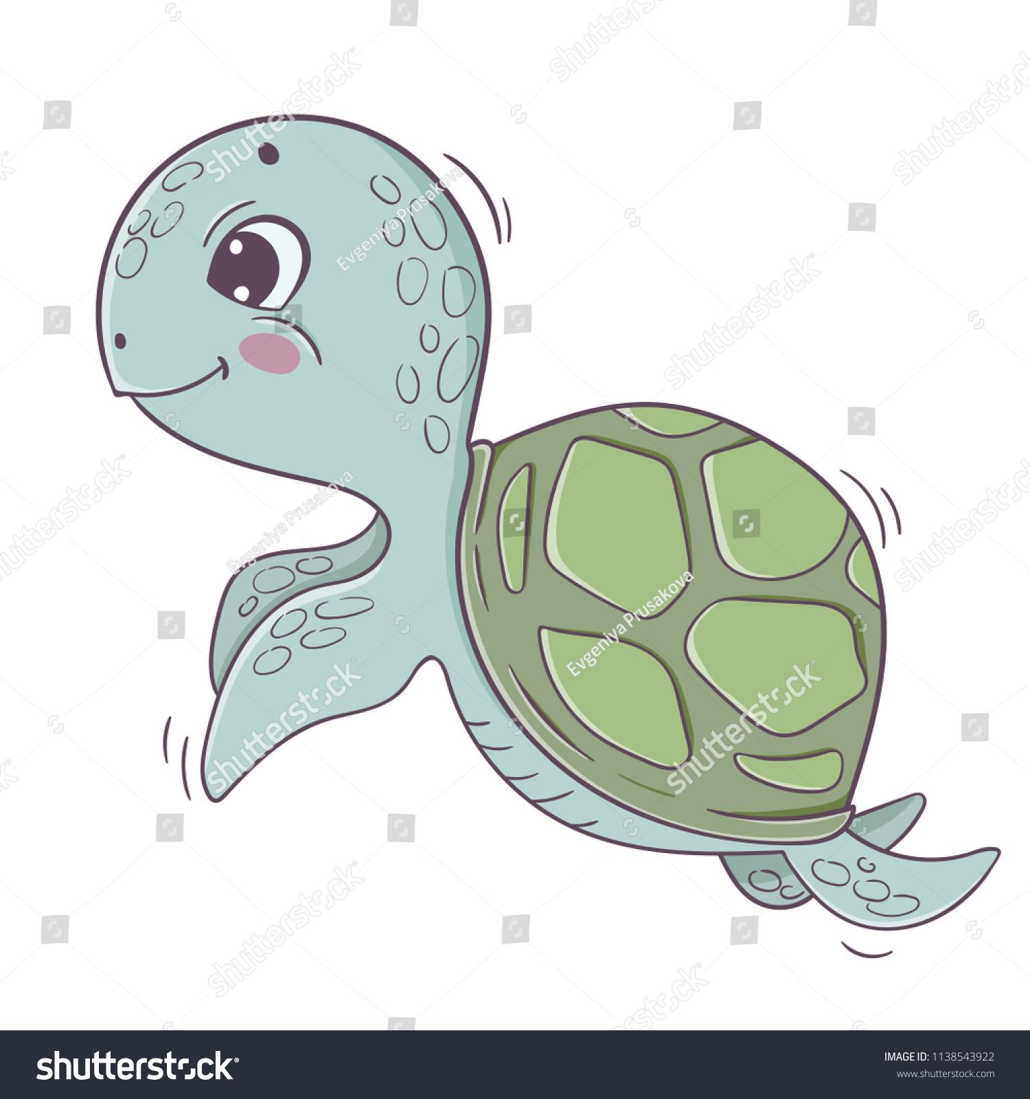Cute Cartoon Sea Turtle Isolated On Stock Vector Royalty Free