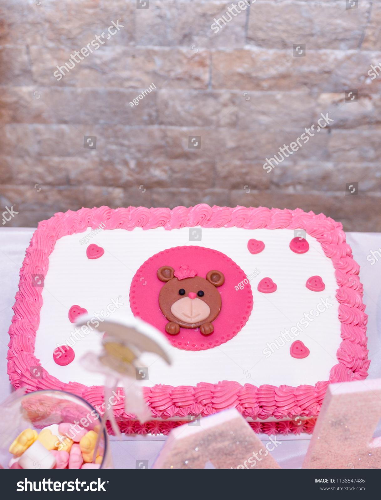 Baby Girl First Birthday Cake Teddy Stock Photo Edit Now