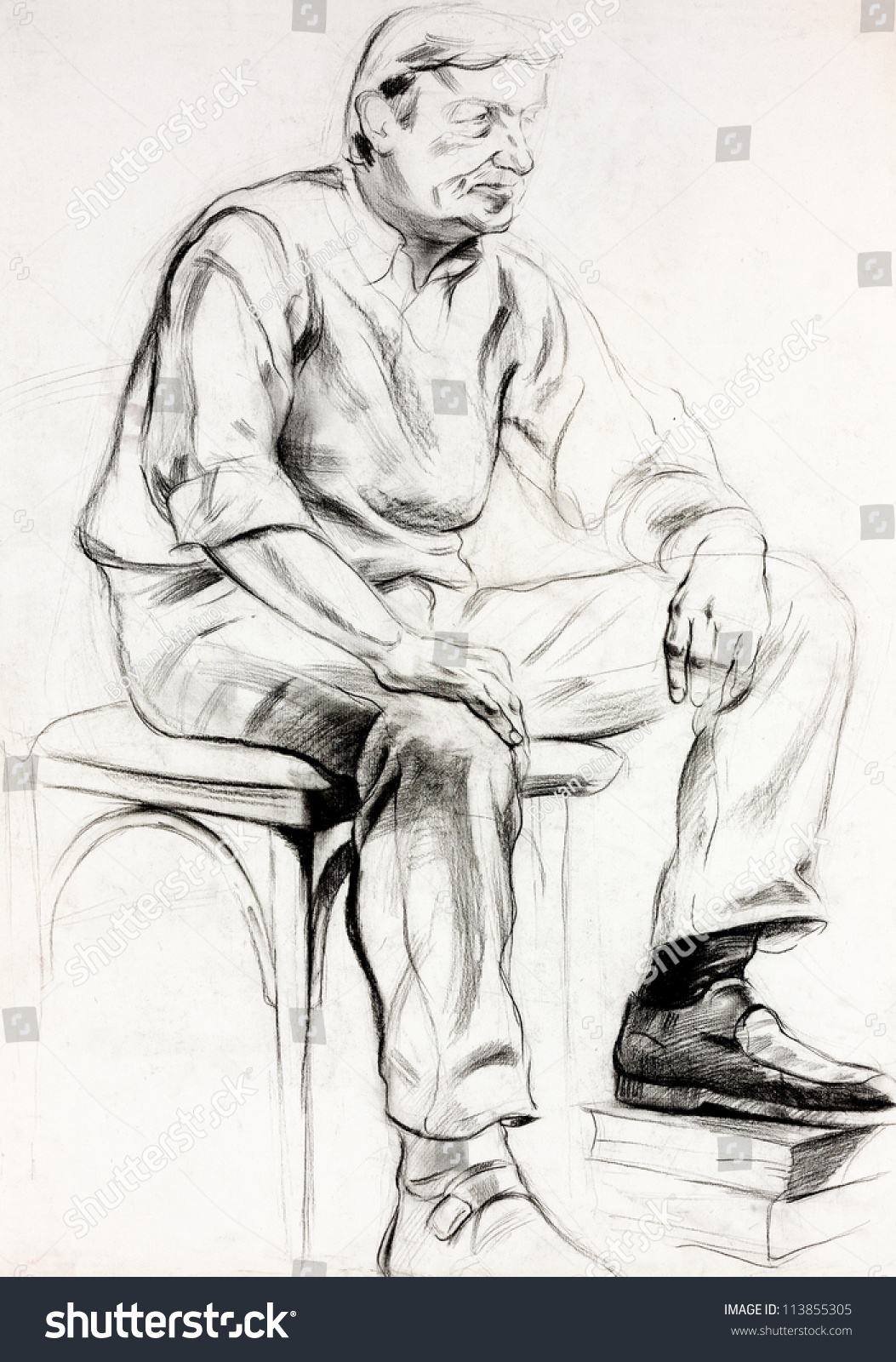 Man sitting in chair drawing - Original Pastel And Hand Drawn Painting Or Working Sketch Of A Man Sitting In A Chair