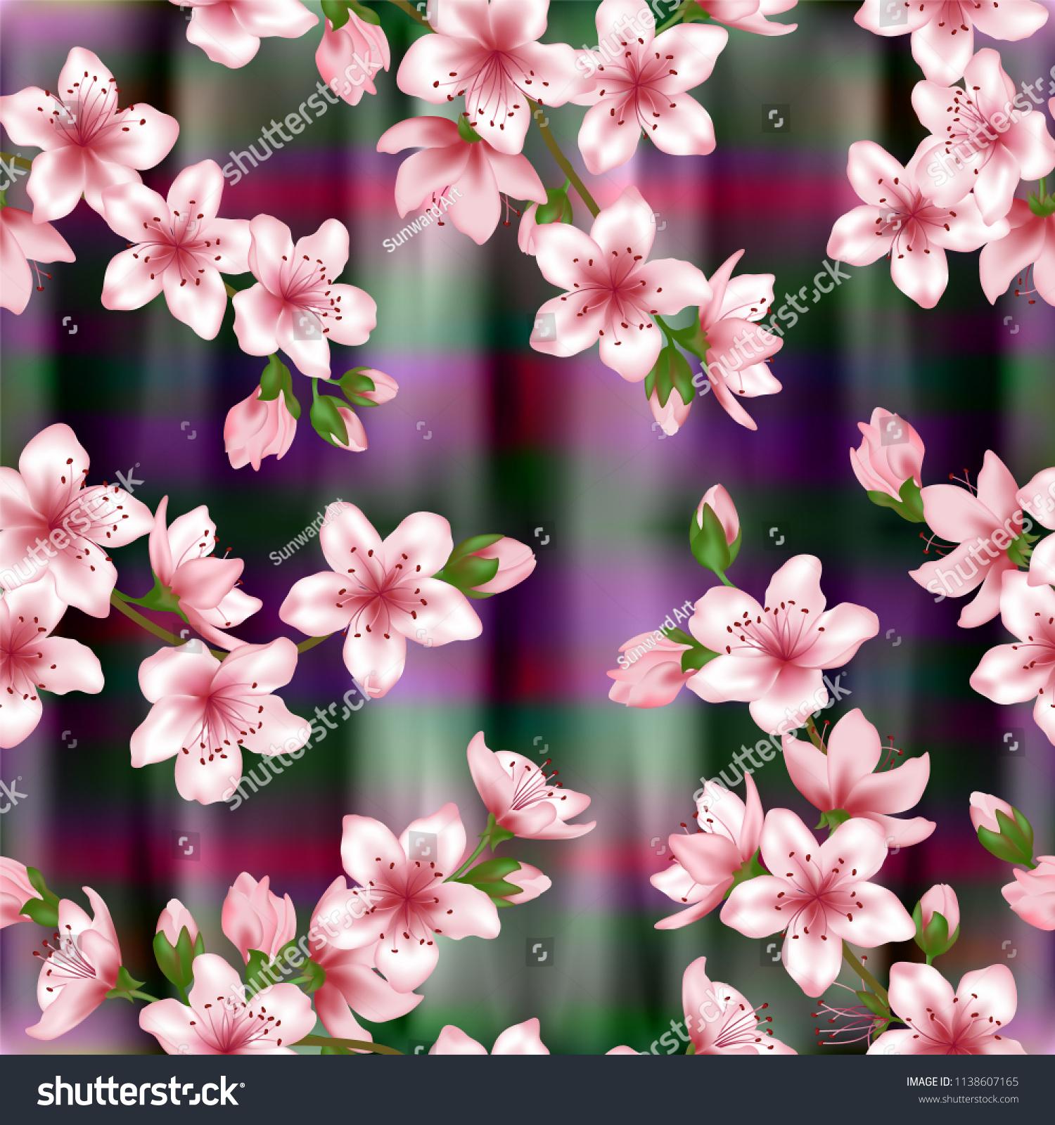 Japanese Cherry Blossom Sakura Branches Vector Stock Vector Royalty