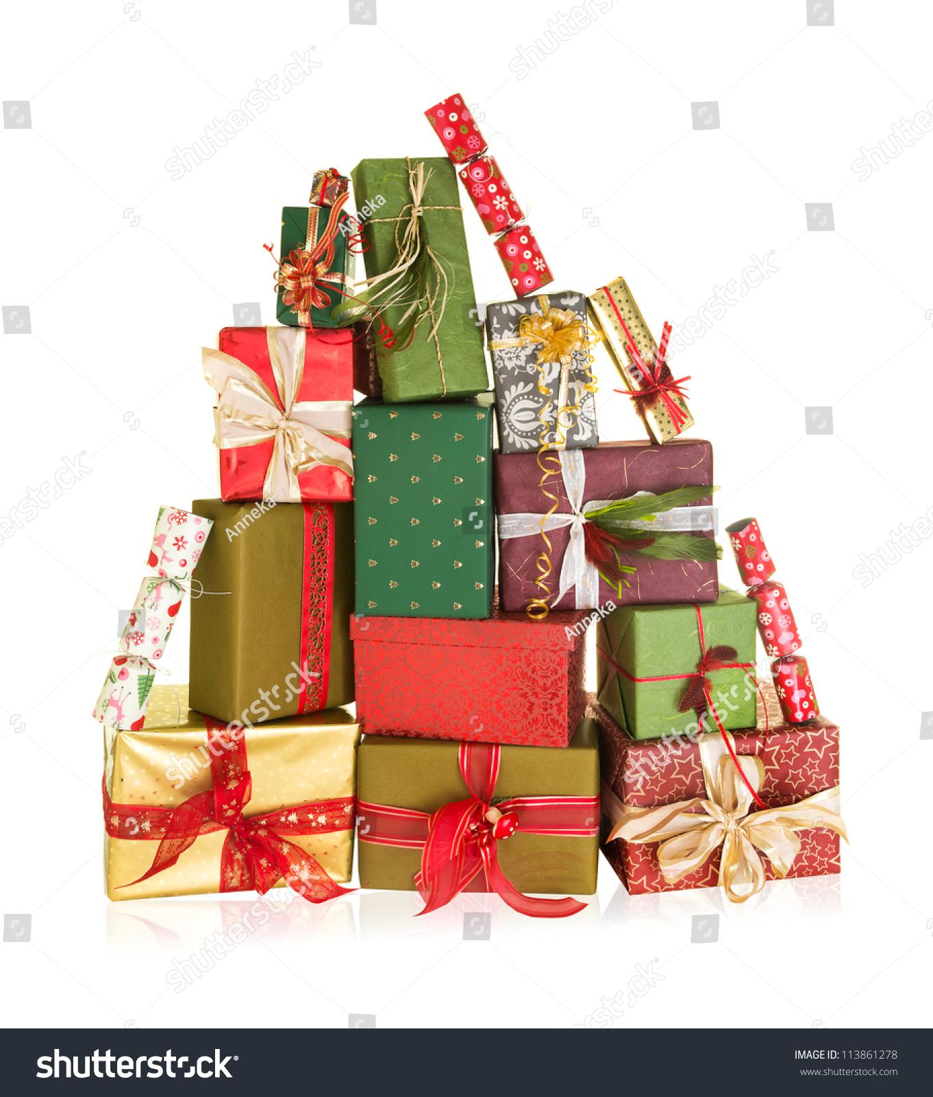 Big stack christmas presents shape high stock photo