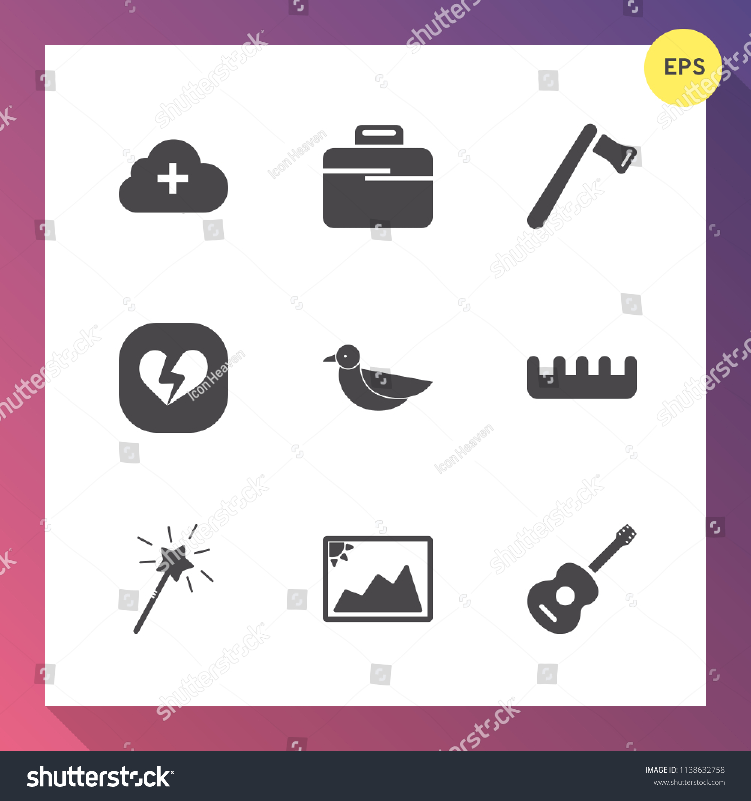 Modern Simple Vector Icon Set On Stock Royalty Free Article Panpot Guitar Rewiring Gradient Background With Comb Business Upload